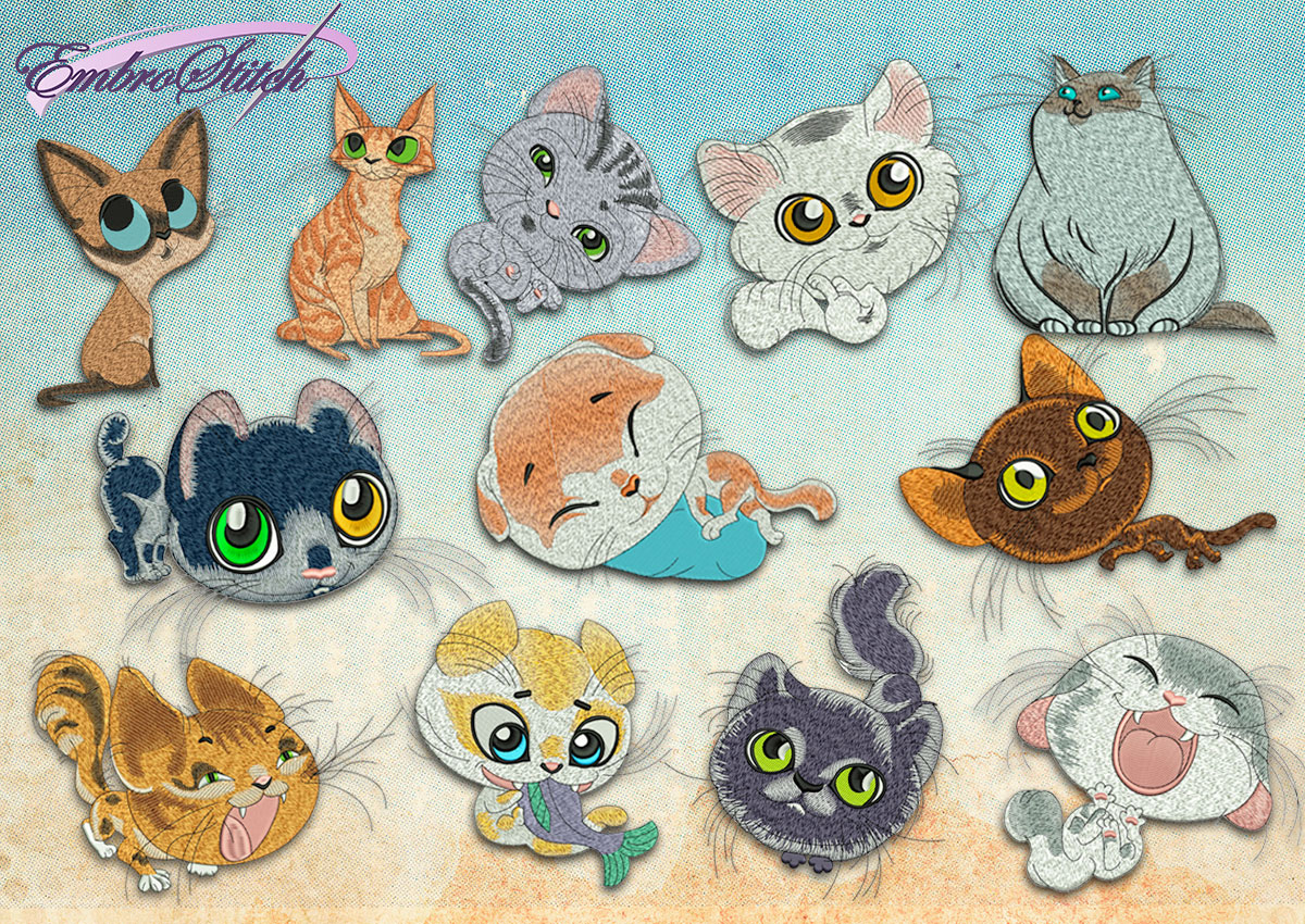 This Collection Cats design was digitized and embroidered by Embrostitch studio