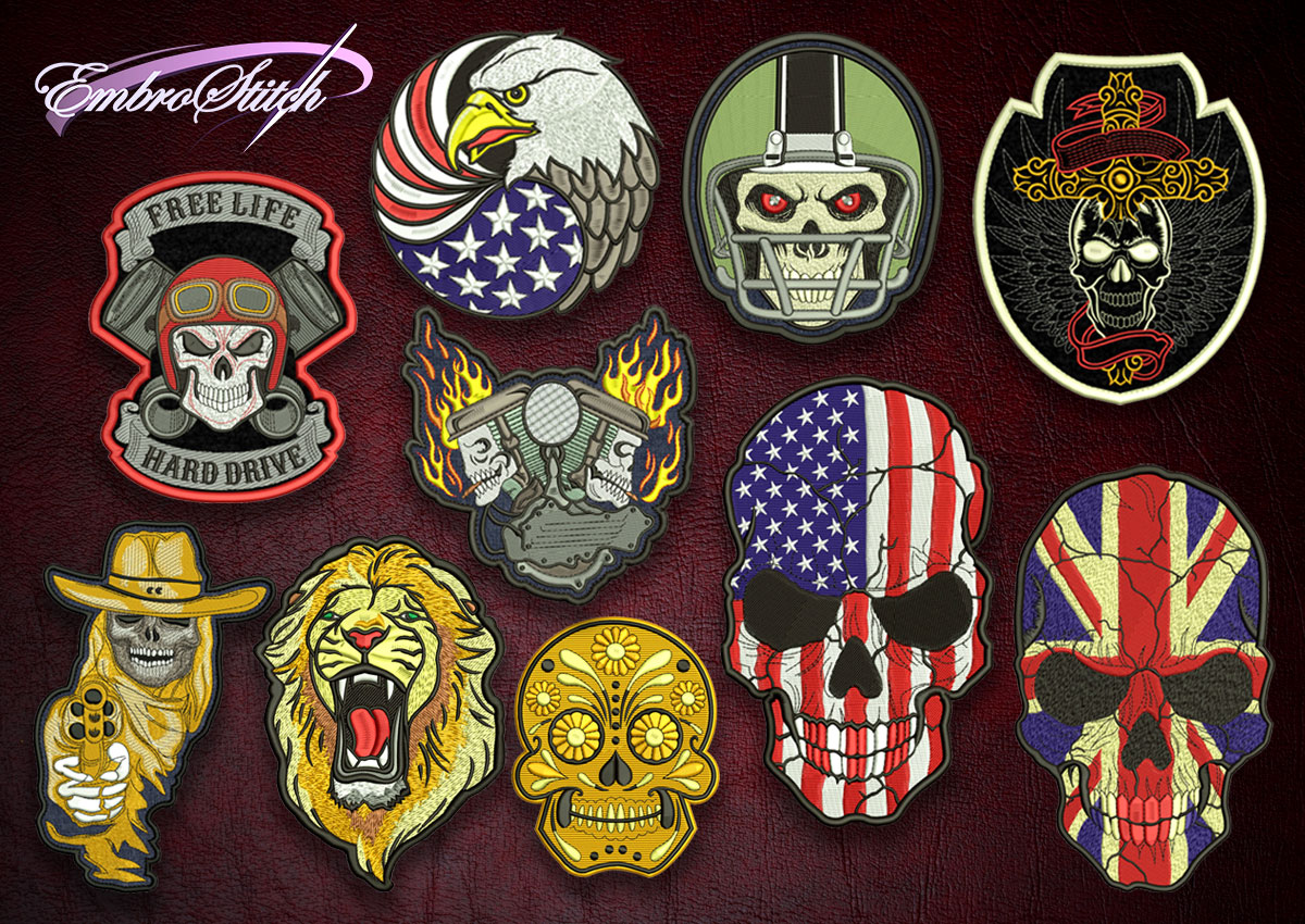 The pack of high quality embroidery designs Collection of Biker patches