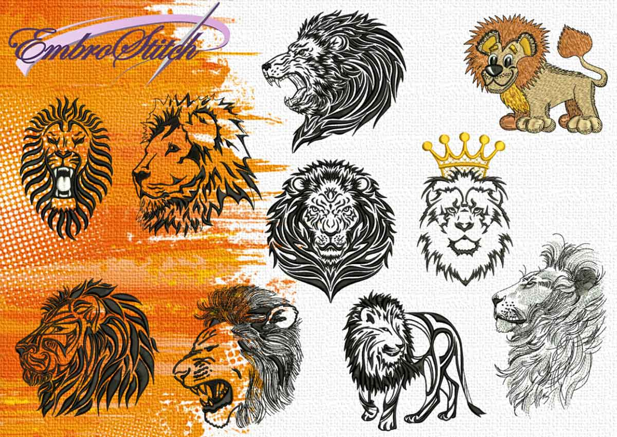 The pack of embroidery design Collections of Lions by EmbroStich