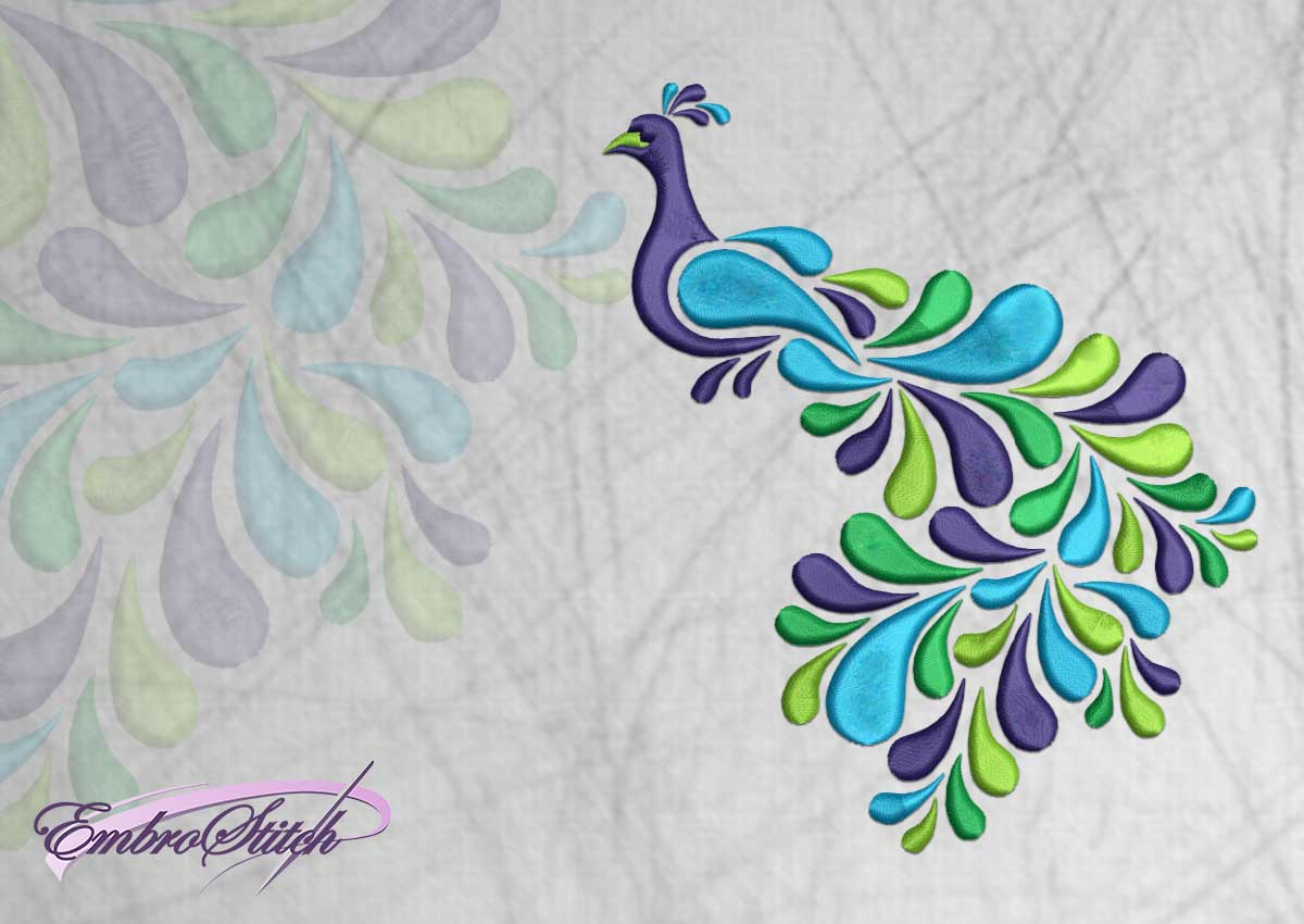The embroidery design Colored peacock