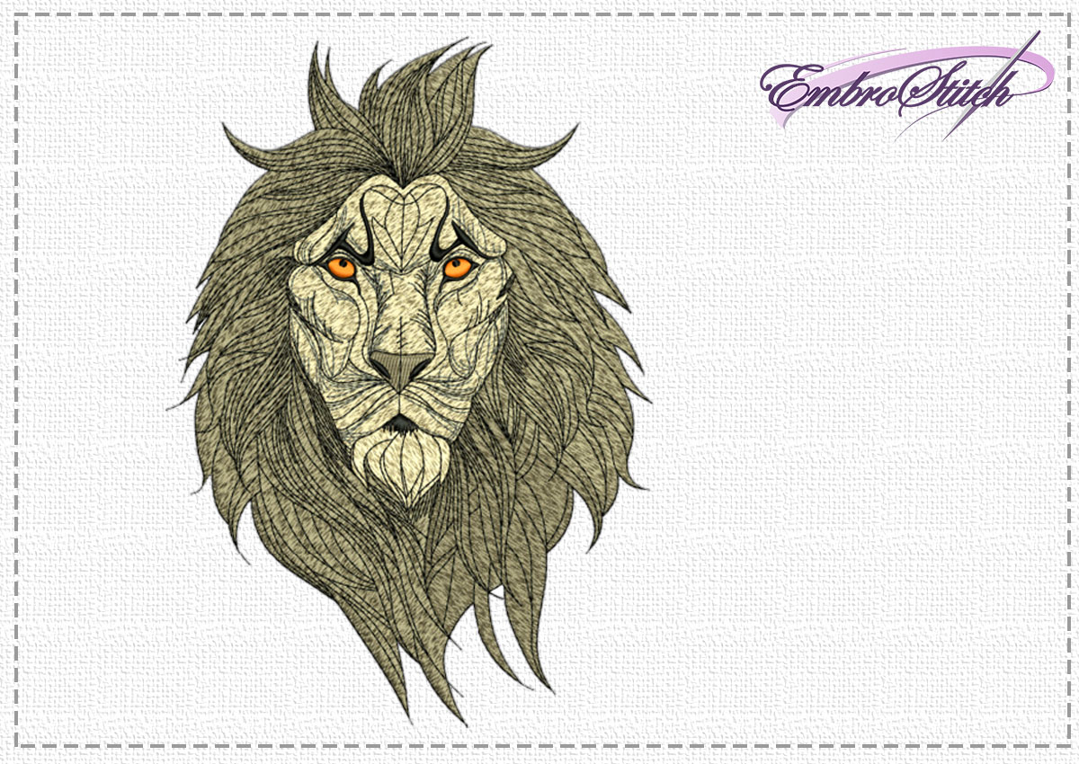 The high quality embroidery design Concentrated lion