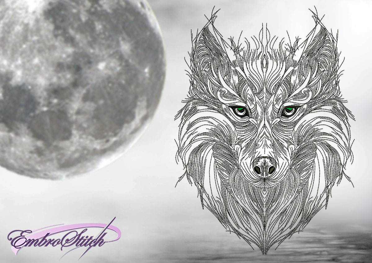 The embroidery design Contemplative wolf