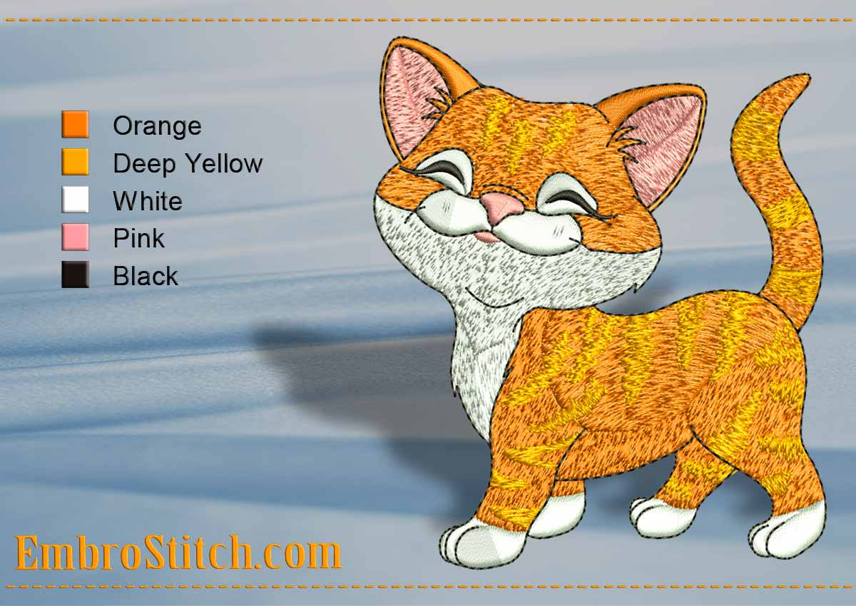 Calm Kitty Embroidery Design 3 Sizes 8 Formats Embrostitch