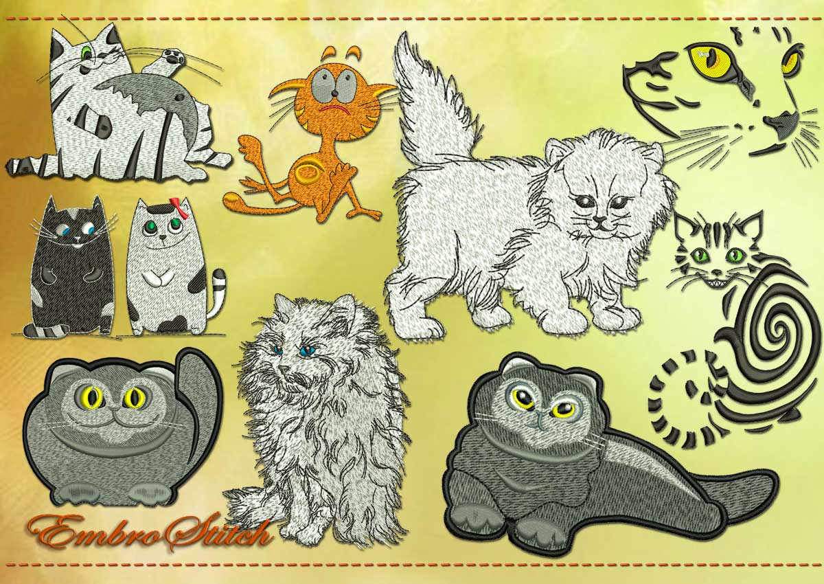 This Cool Cats Set design was digitized and embroidered by Embrostitch studio