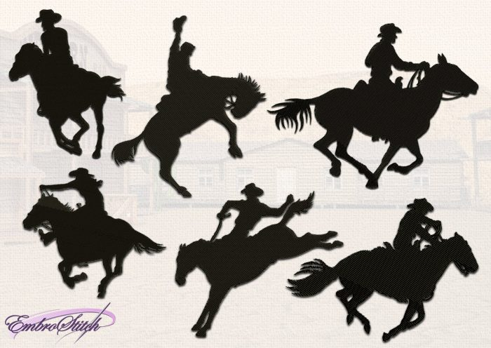 The pack of embroidery designs Cowboy Silhouettes contains 6 items