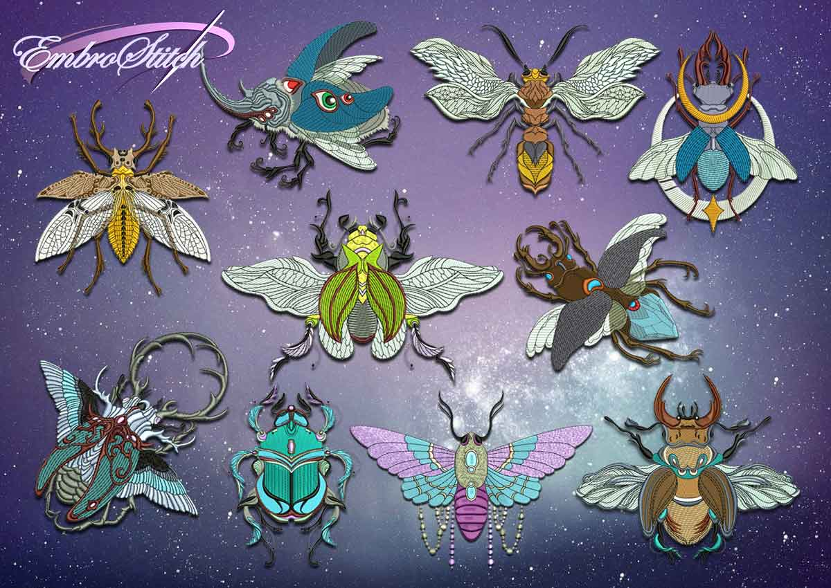 The pack of embroidery designs Creative insects