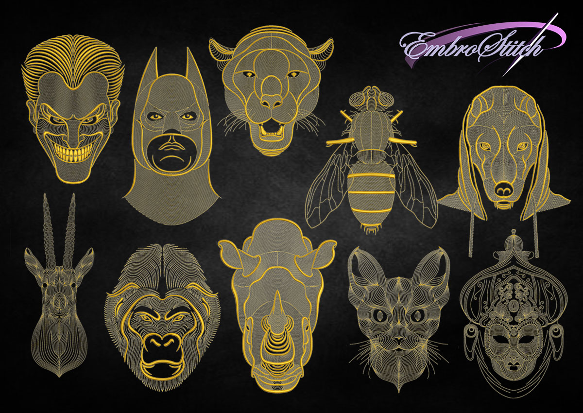 The pack of embroidery designs Creative outline portraits