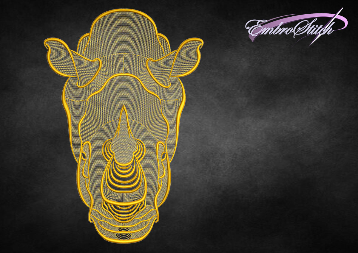 The embroidery design Creative outline rhinoceros