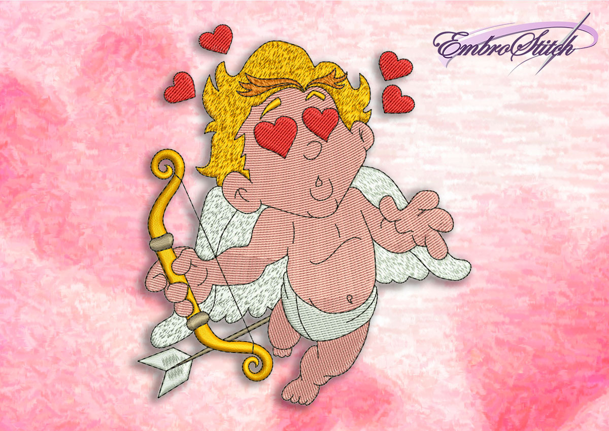 This Cupid Love design was digitized and embroidered by Embrostitch studio