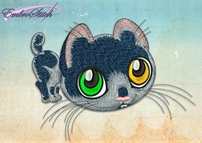 This Curious Kitten design was digitized and embroidered by Embrostitch studio