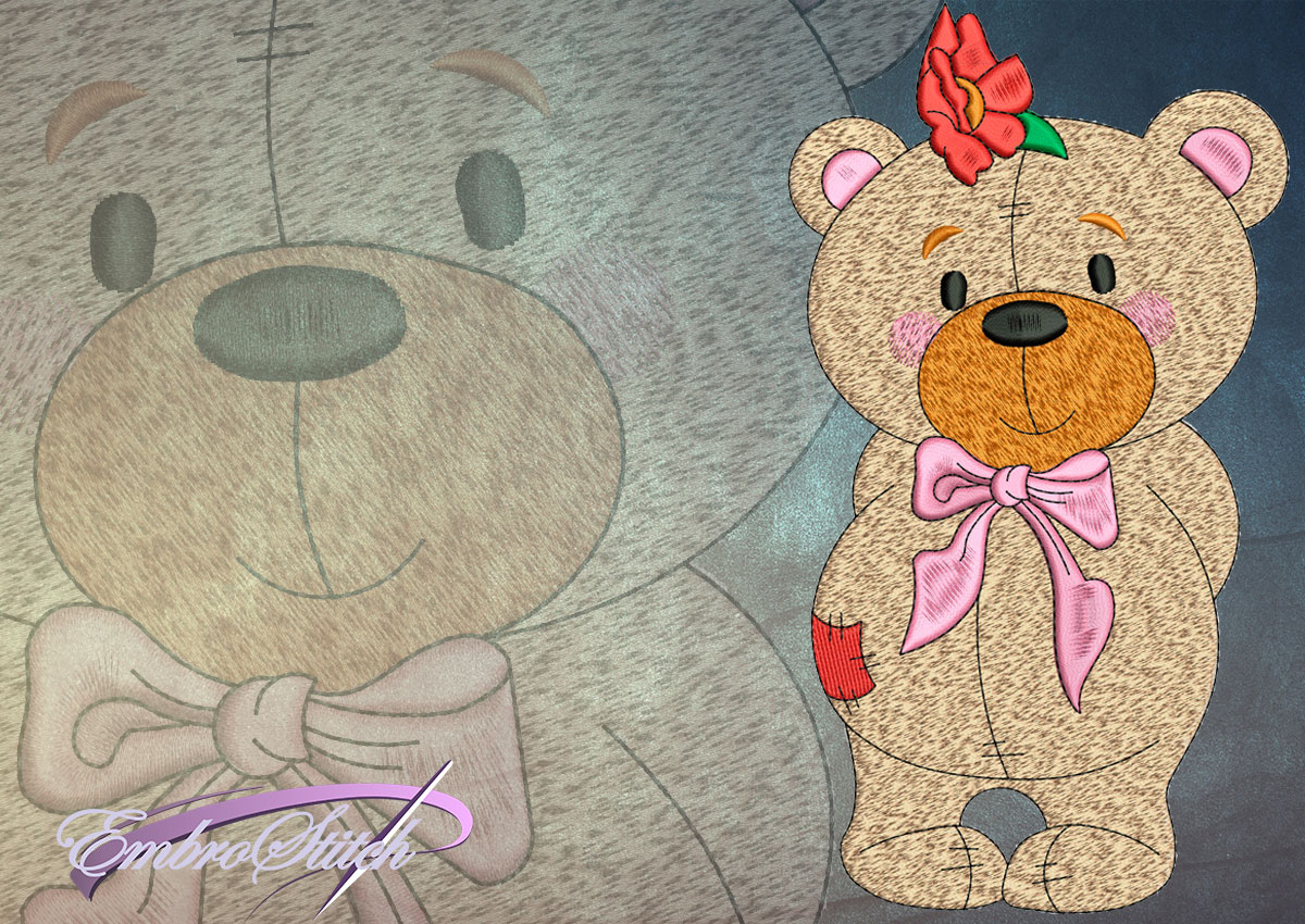 This Cute Bear Cub design was digitized and embroidered by Embrostitch studio