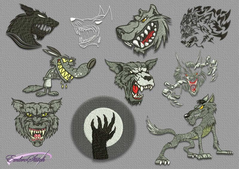 The pack of embroidery designs Dangerous wolves contains 10 creative designs.