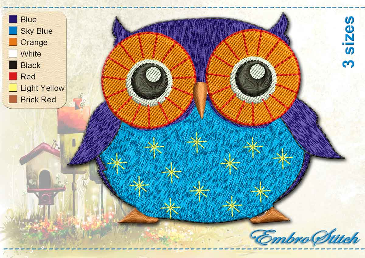 This Darkly Blue Owl design was digitized and embroidered by Embrostitch studio