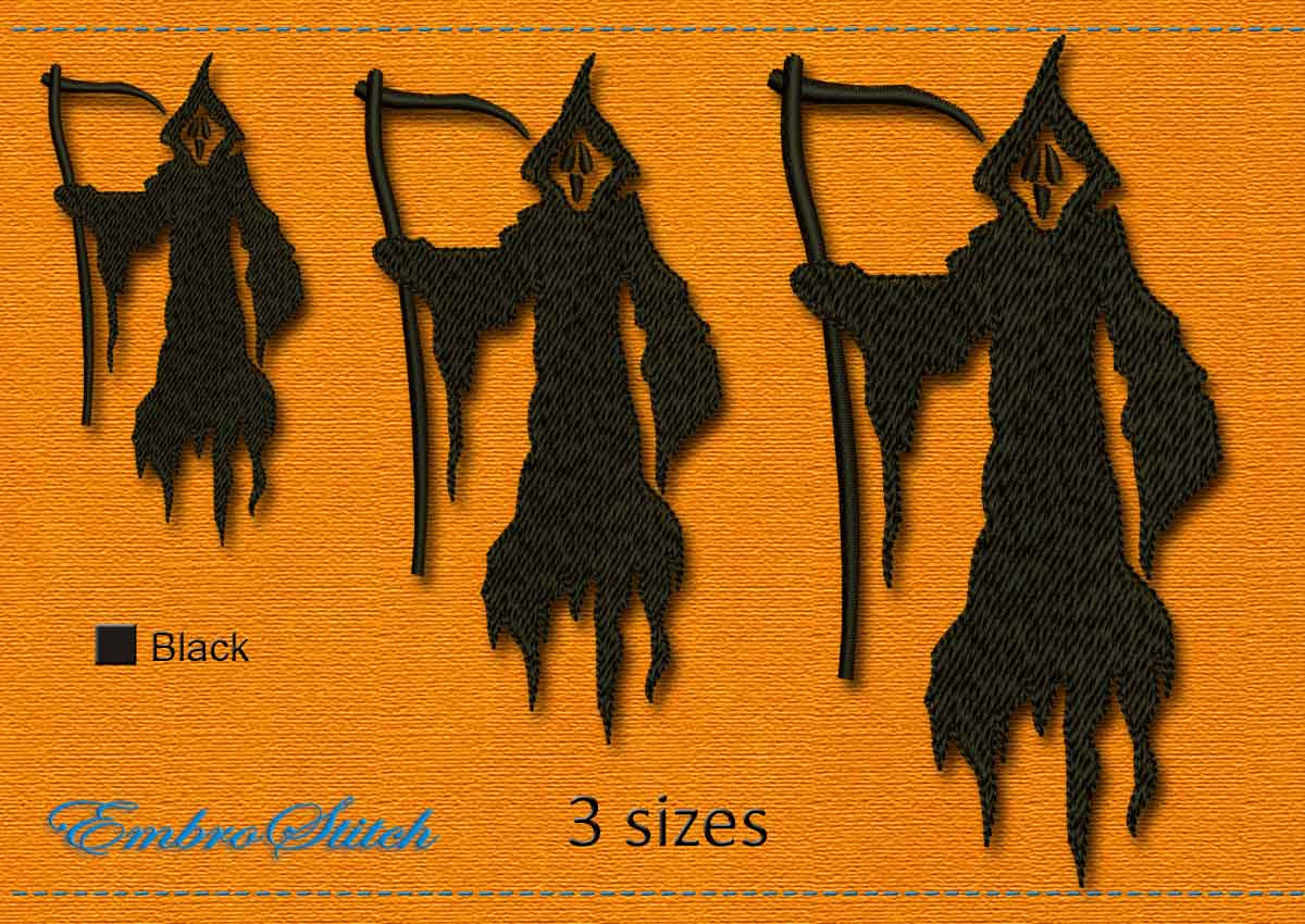 This Death Halloween design was digitized and embroidered by Embrostitch studio
