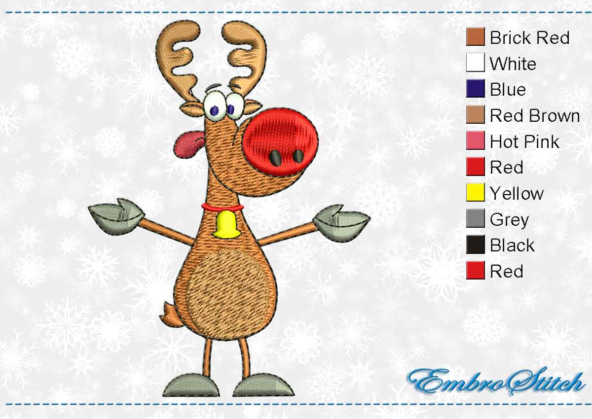 This Deer Big Red Nose design was digitized and embroidered by Embrostitch studio