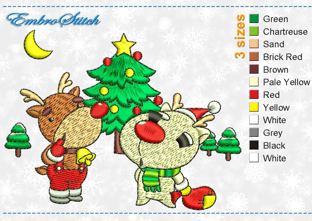This Deer Near Fir Tree design was digitized and embroidered by Embrostitch studio