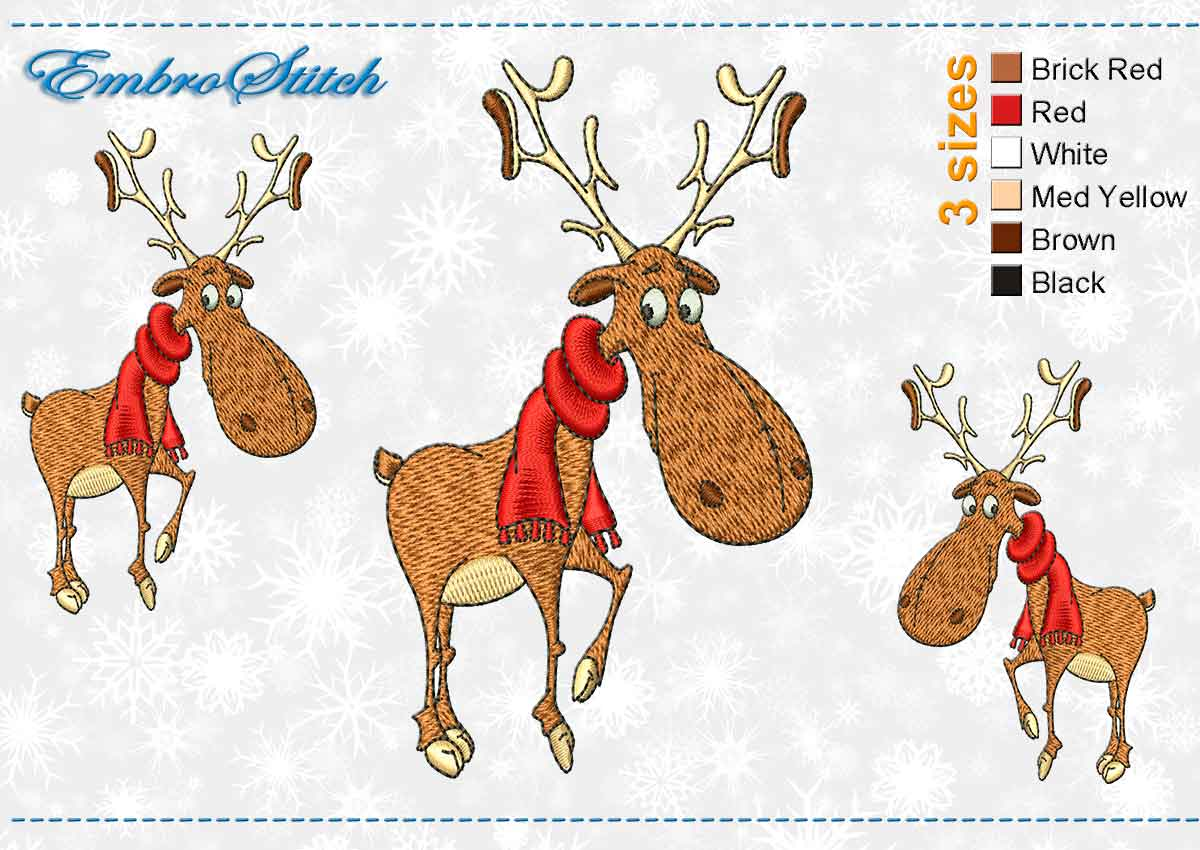 This Deer Red Scarf design was digitized and embroidered by Embrostitch studio
