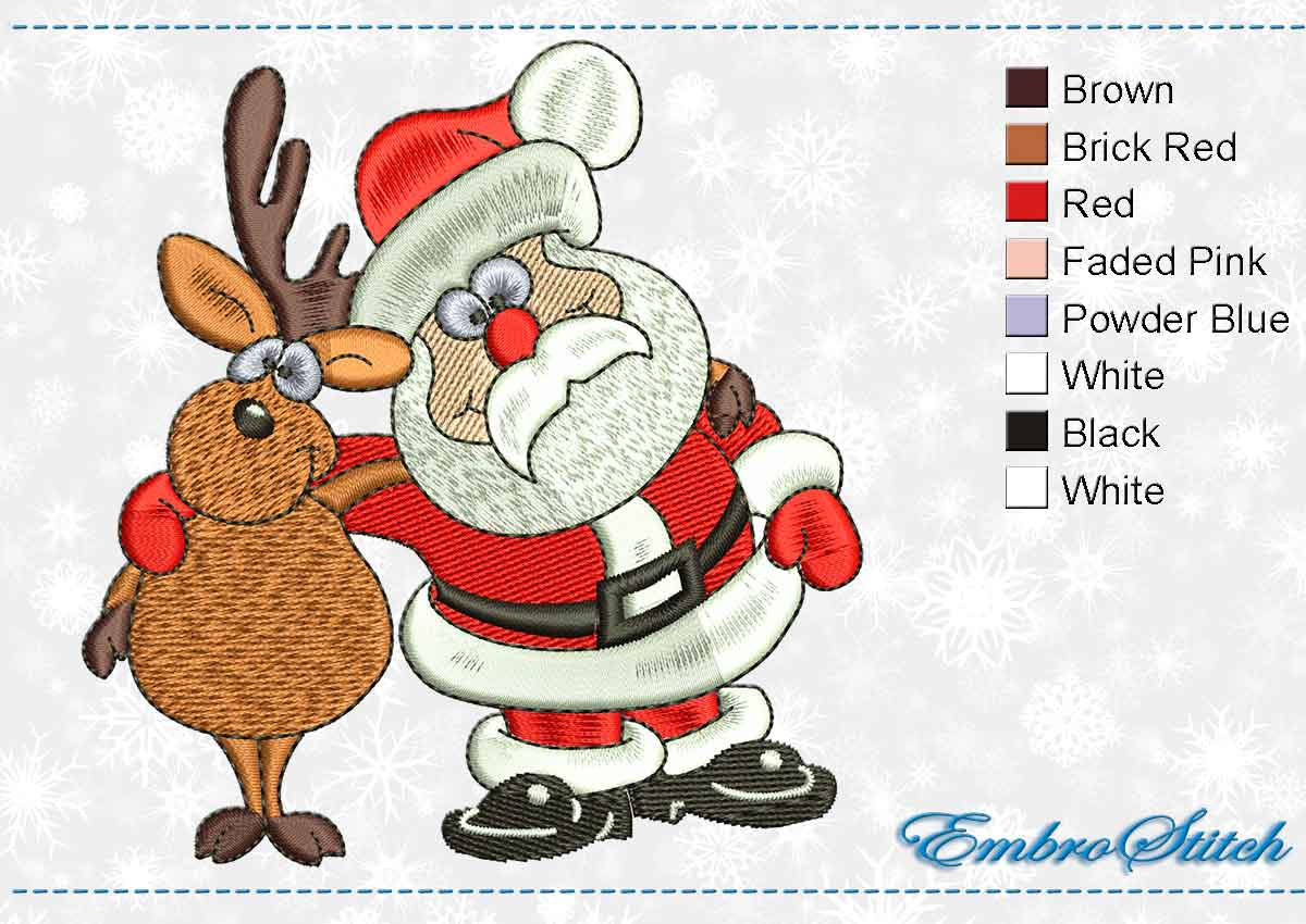 This Deer Santa design was digitized and embroidered by Embrostitch studio