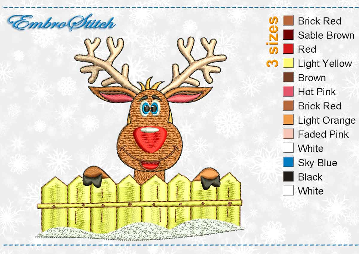This Deer Smiling design was digitized and embroidered by Embrostitch studio