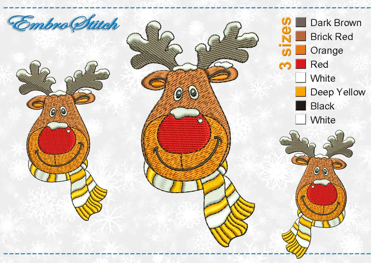 This Deer Striped Scarf design was digitized and embroidered by Embrostitch studio