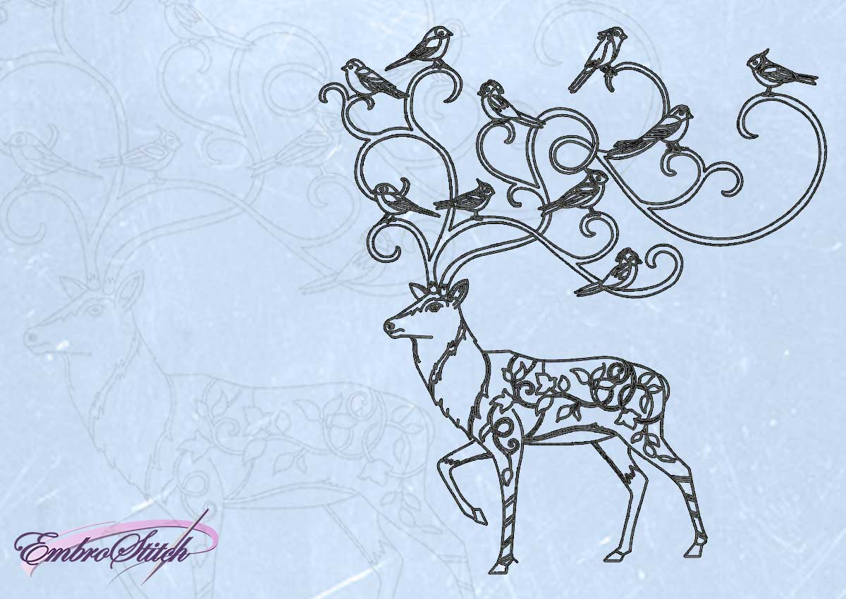 The embroidery design Deer with birds