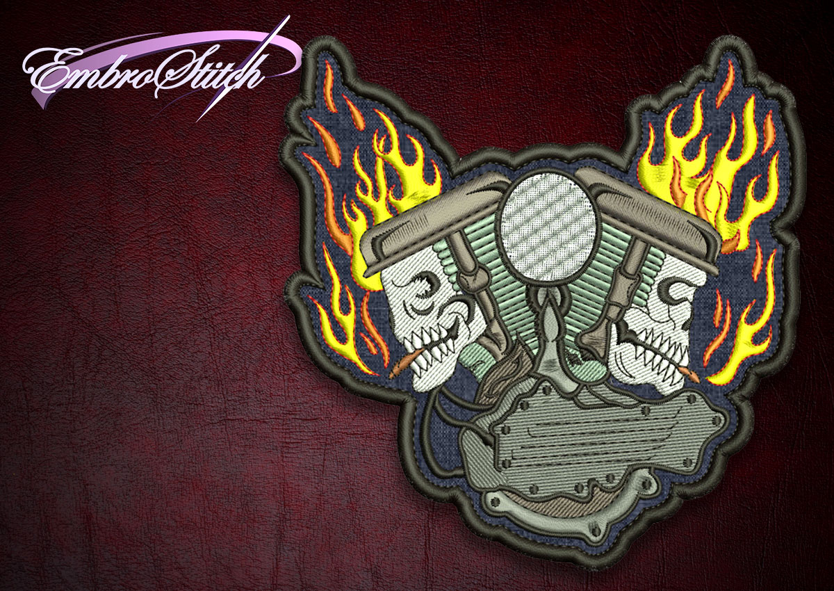 The high quality embroidery design Biker patch Double Skulls