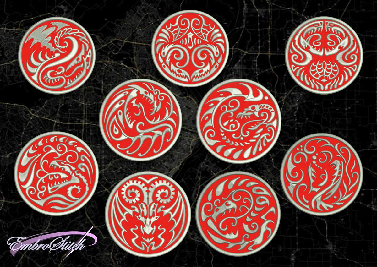 The pack of embroidery designs Dragon patches