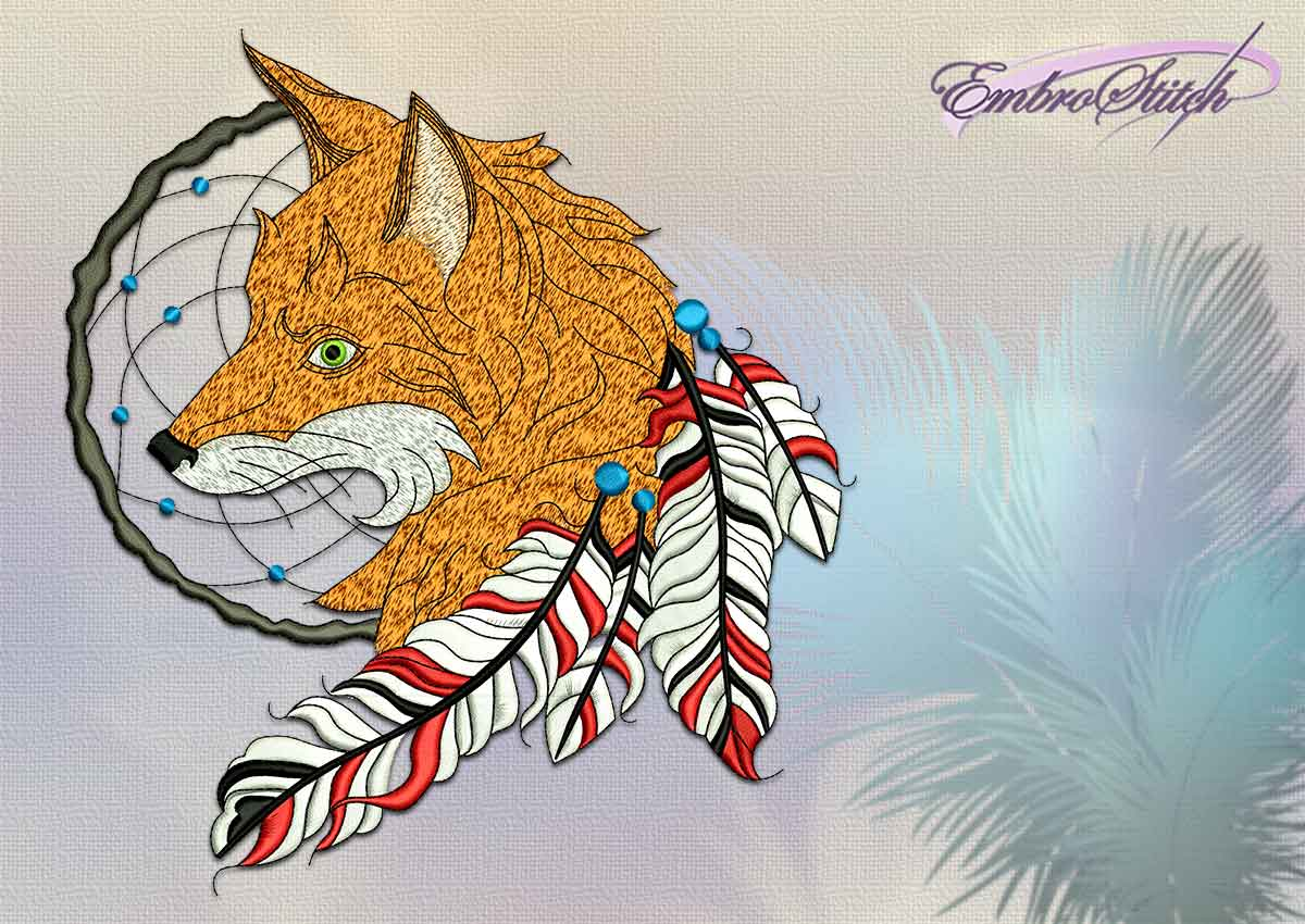 This Dreamcatcher with fox design was digitized and by Embrostitch studio