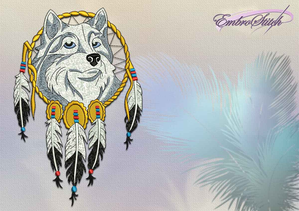 The embroidery design Indian dreamcatcher with pleased wolf