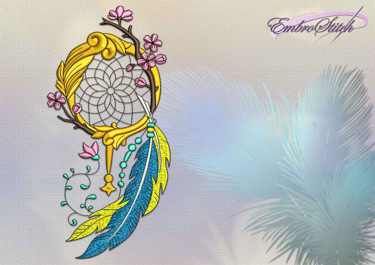 The embroidery design Dreamcatcher with sacura and feathers