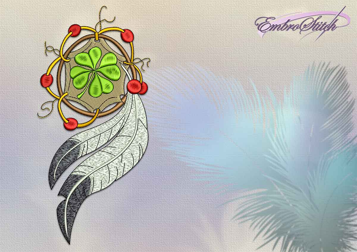 Embroidery design Dreamcatcher with trefoil