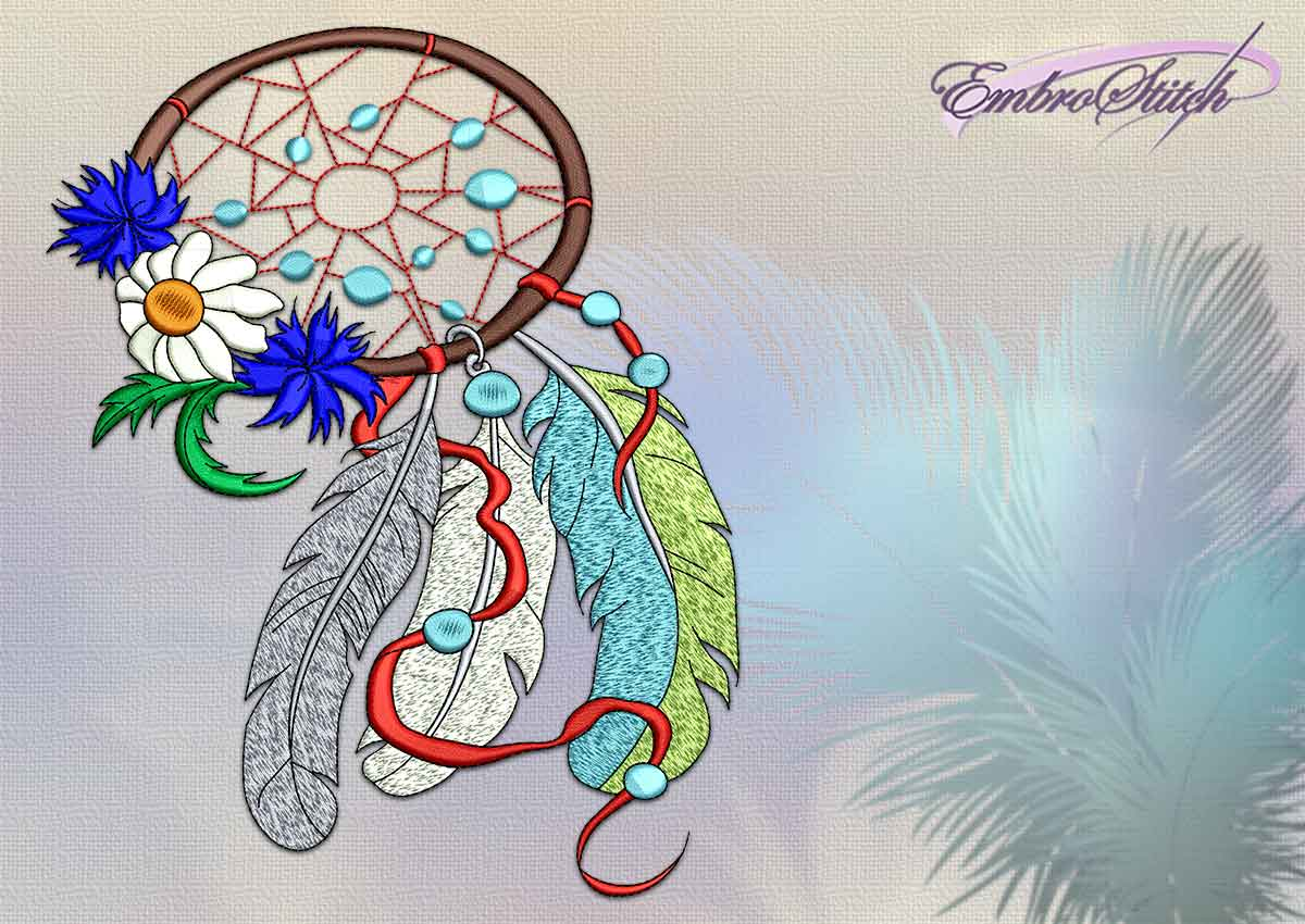Embroidery design Dreamcatcher with wildflowers