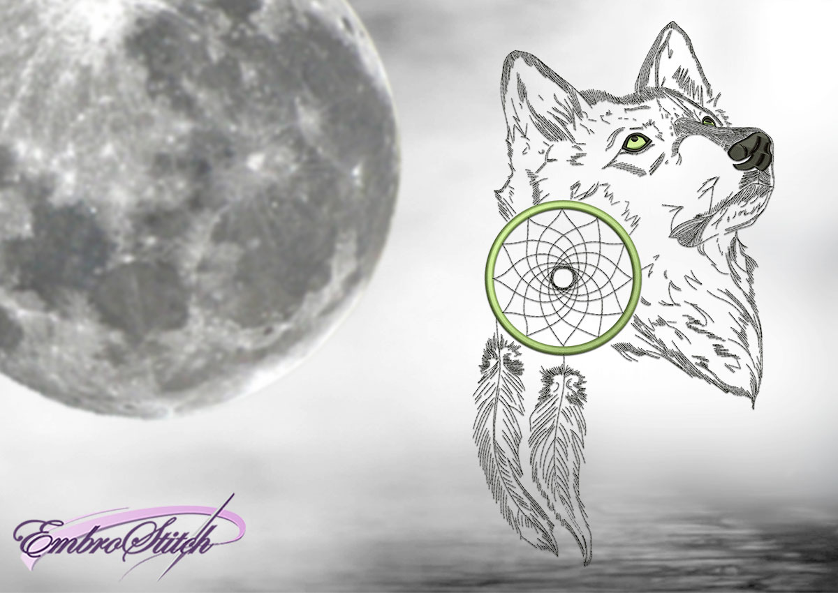 The embroidery design Dreamy wolf
