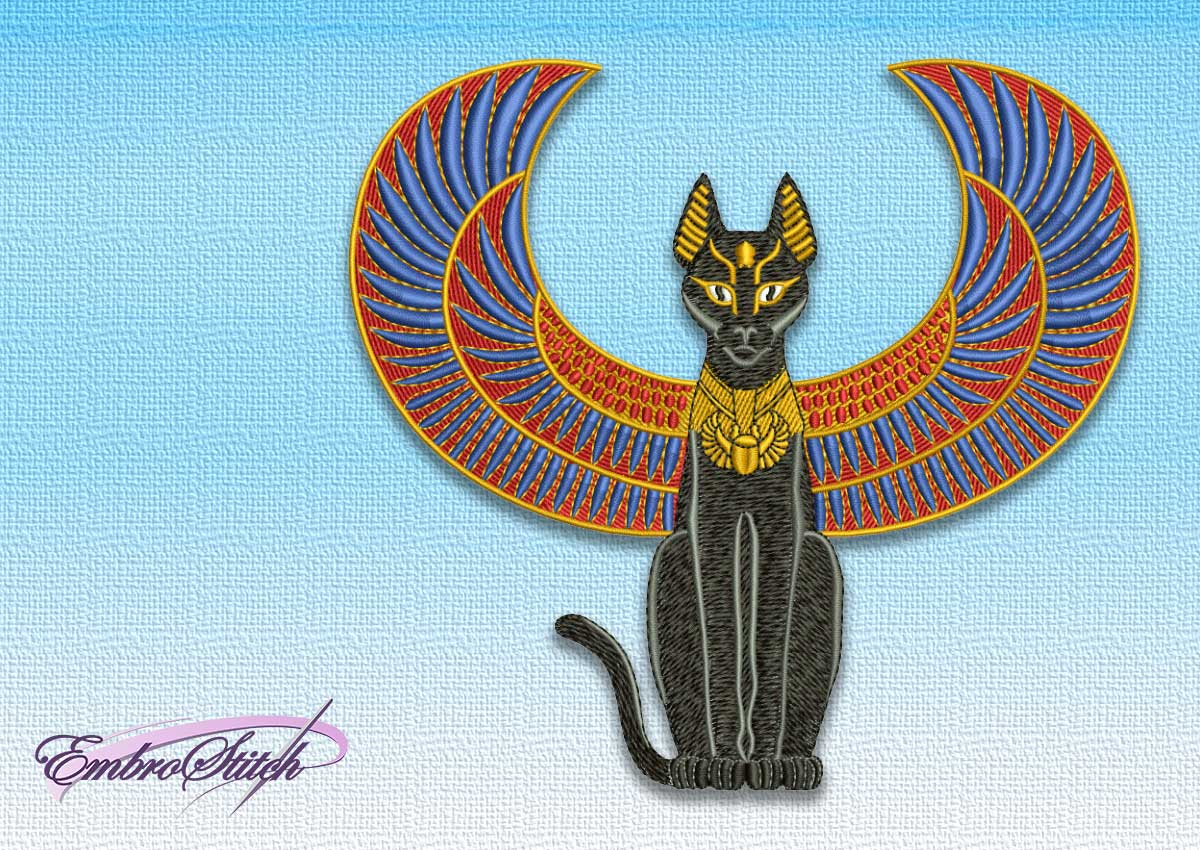 The embroidery design Egyptian cat