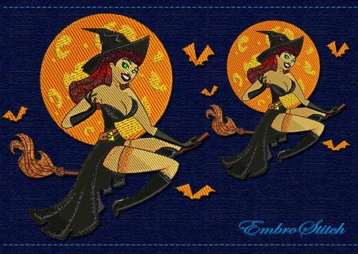 This Elegant Witch Halloween design was digitized and embroidered by Embrostitch studio