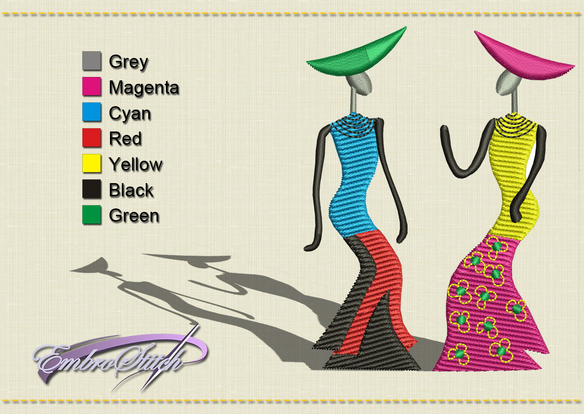This African Two Women design was digitized and embroidered by Embrostitch studio