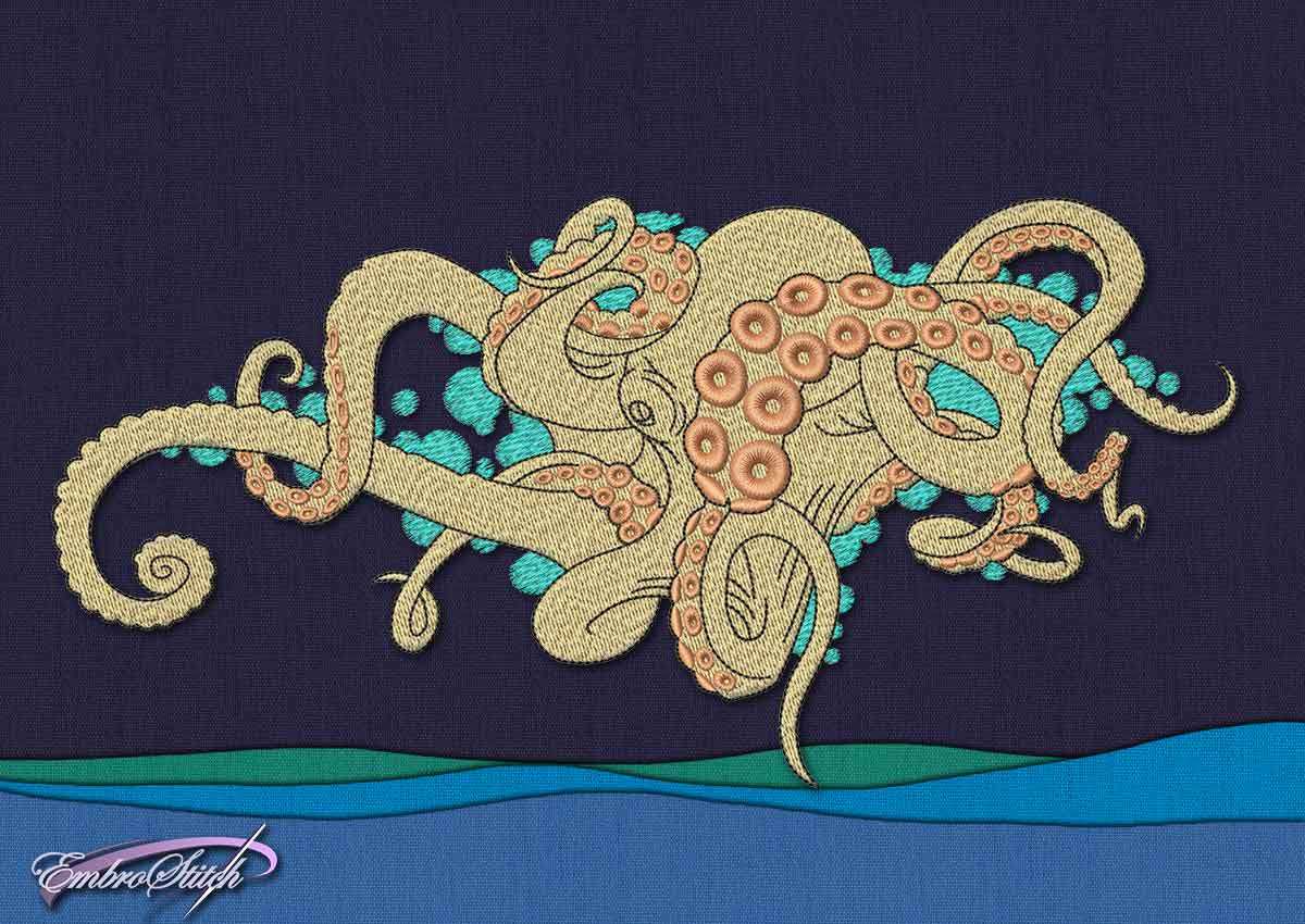 This Amusing Octopus design was digitized and embroidered by Embrostitch studio