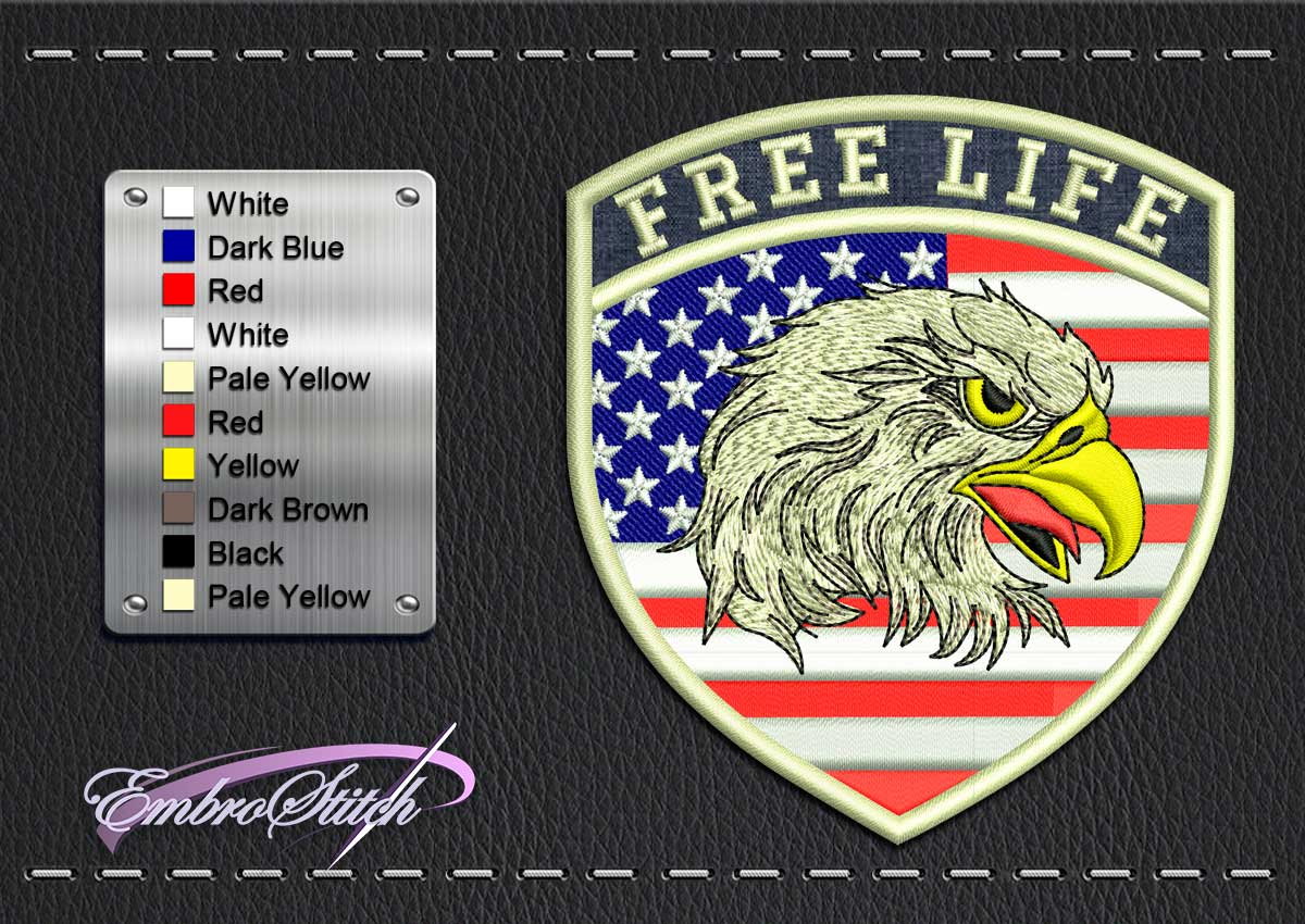 This Biker patch American Eagle design was digitized and embroidered by Embrostitch studio