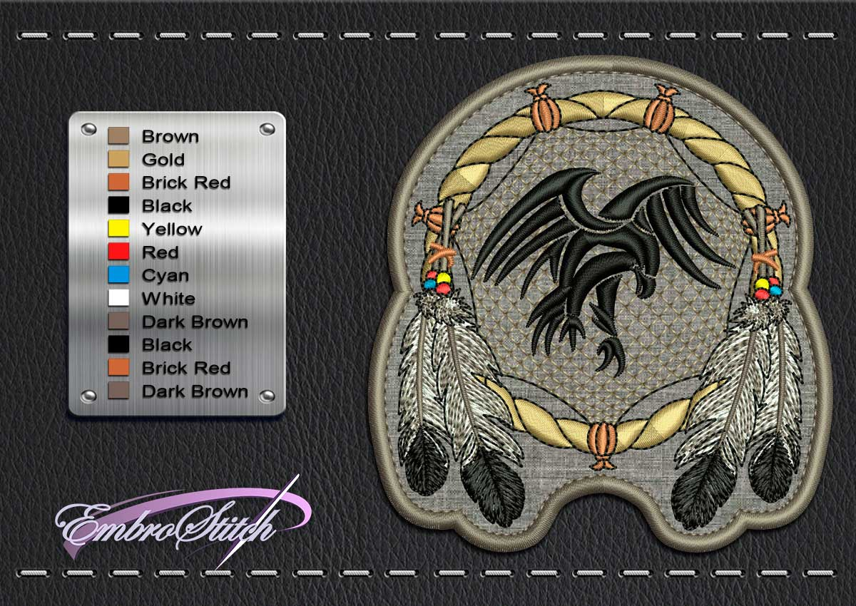 This Biker patch Dreamcatcher design was digitized and embroidered by Embrostitch studio