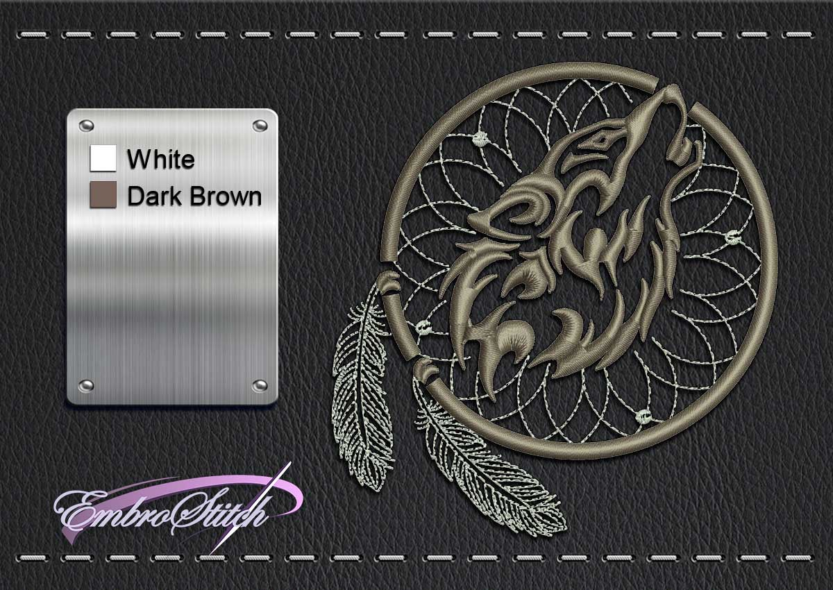This Biker patch Dreamcatcher Wolf design was digitized and embroidered by Embrostitch studio