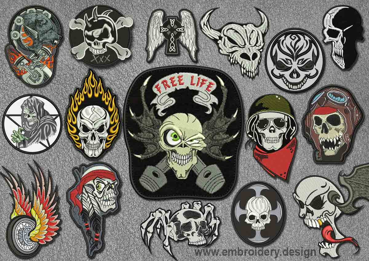 Biker Patches Embroidery Designs