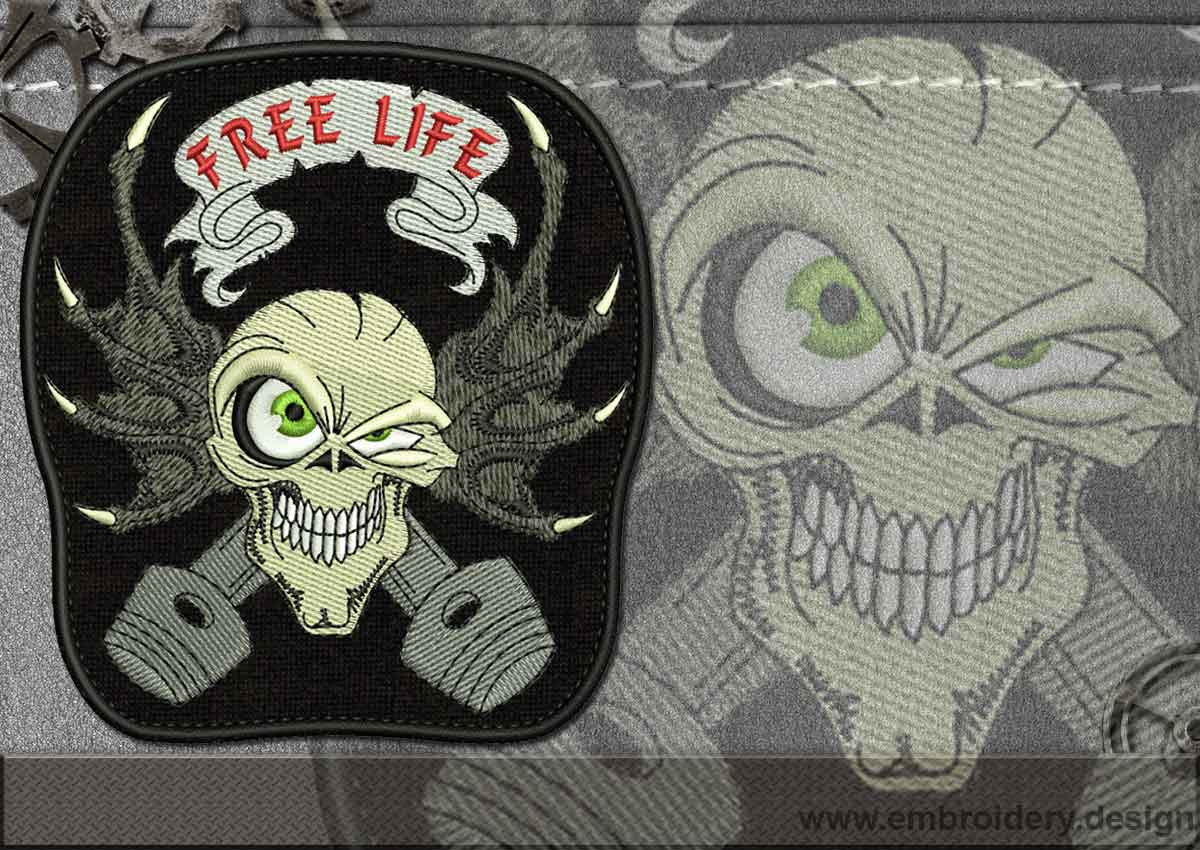 Biker Free Life Skull Embroidery Design 3 Sizes 8 Formats Embrostitch