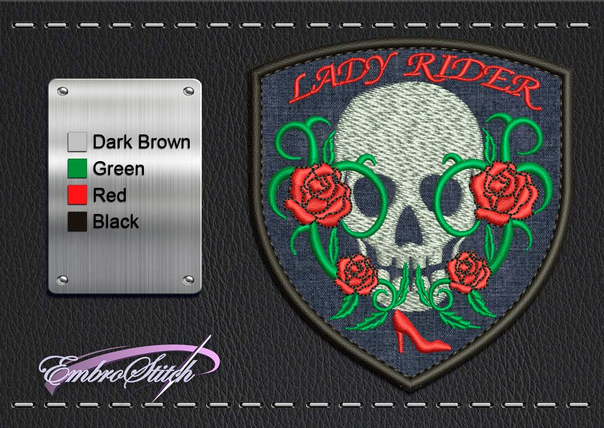This Biker patch Lady Rider design was digitized and embroidered by Embrostitch studio