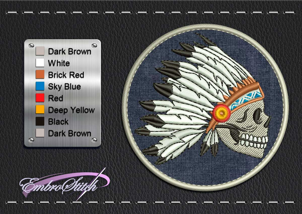 This Biker patch Skull Feather design was digitized and embroidered by Embrostitch studio