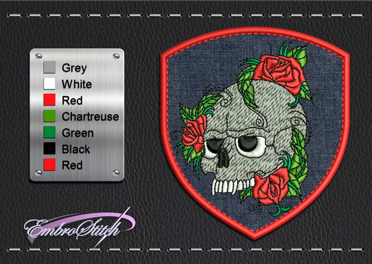 This Biker patch Skull Rose design was digitized and embroidered by Embrostitch studio