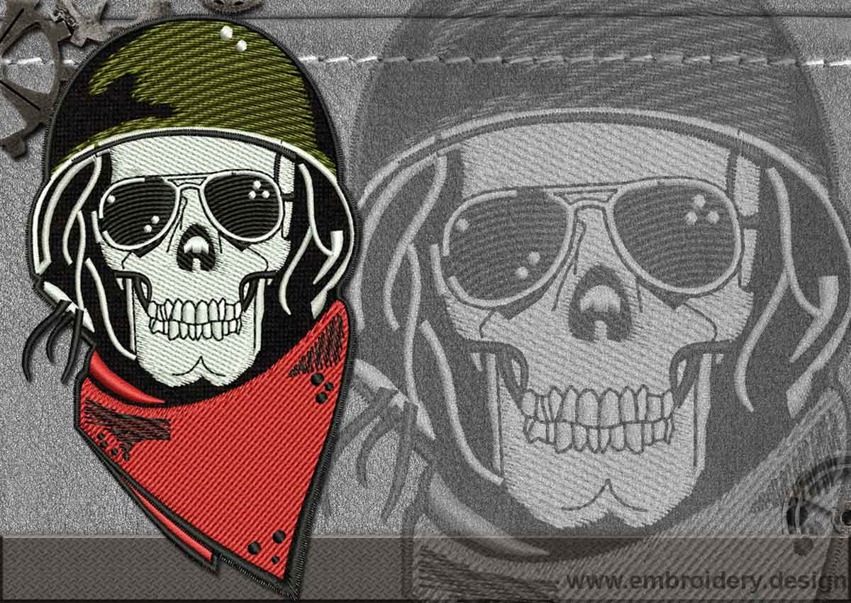 This Biker patch Skull Scarf design was digitized and embroidered by Embrostitch studio