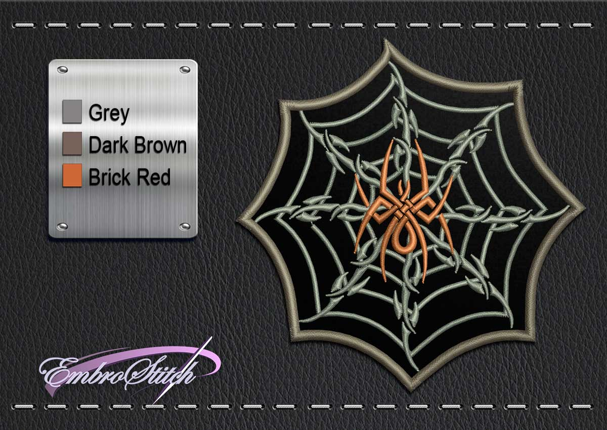 This Biker patch Web Spider design was digitized and embroidered by Embrostitch studio