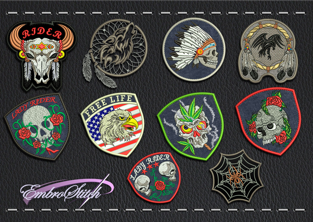 This Biker patchs Set Skulls design was digitized and embroidered by Embrostitch studio