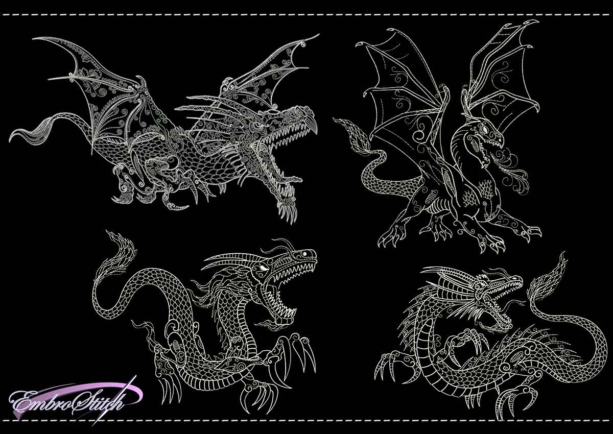 This Dragon Backstitch Set design was digitized and embroidered by Embrostitch studio