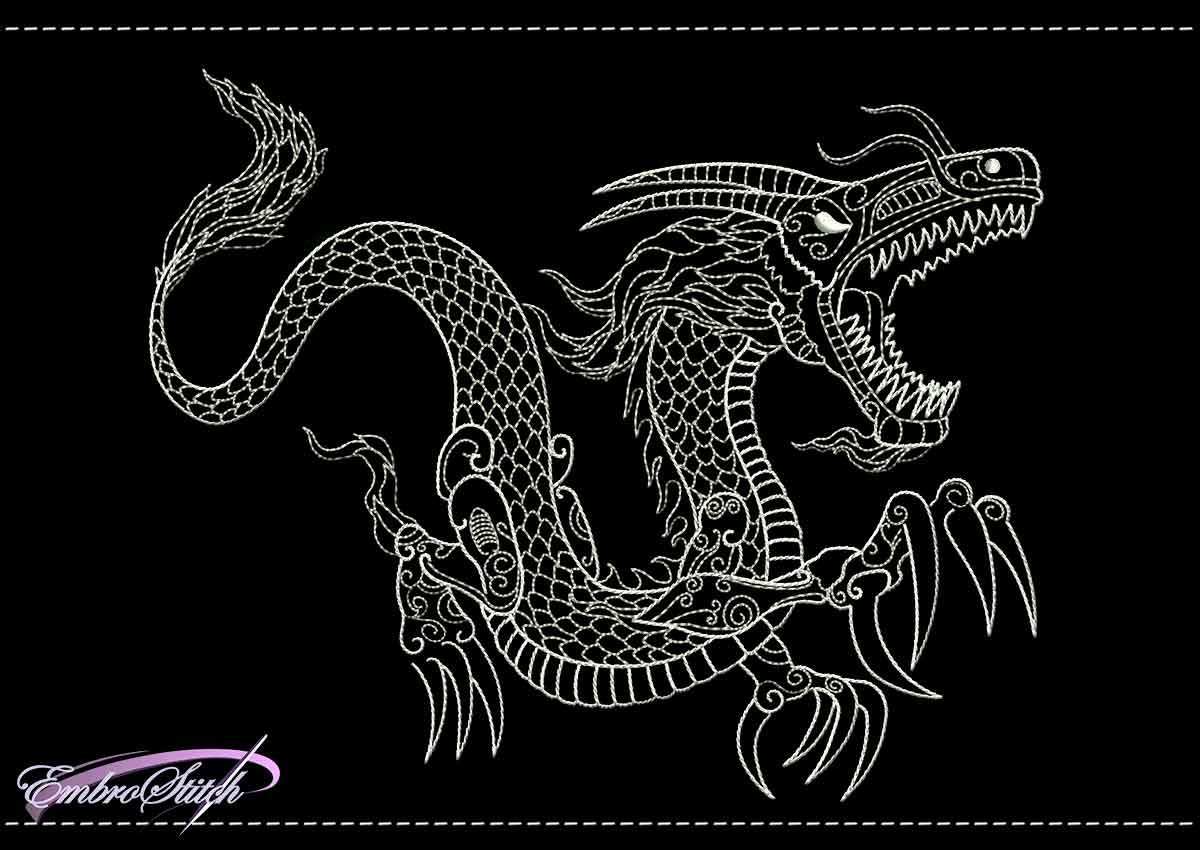 Dragon Backstitch Embroidery Designs Pack 2 Collection